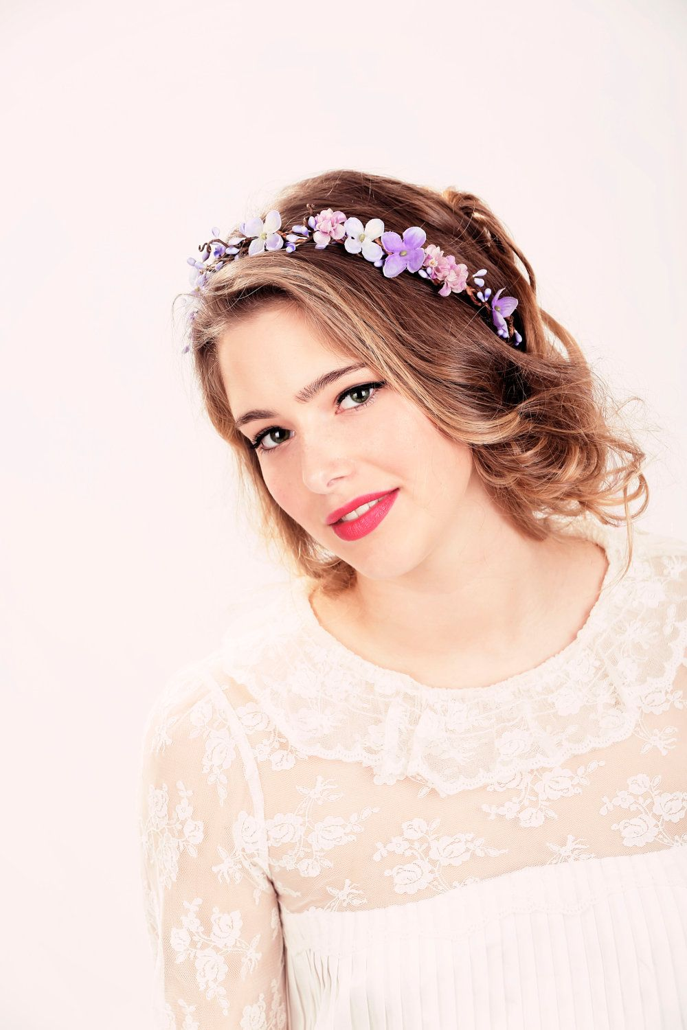 bridal flower crown purple flower woodland wedding wedding hair