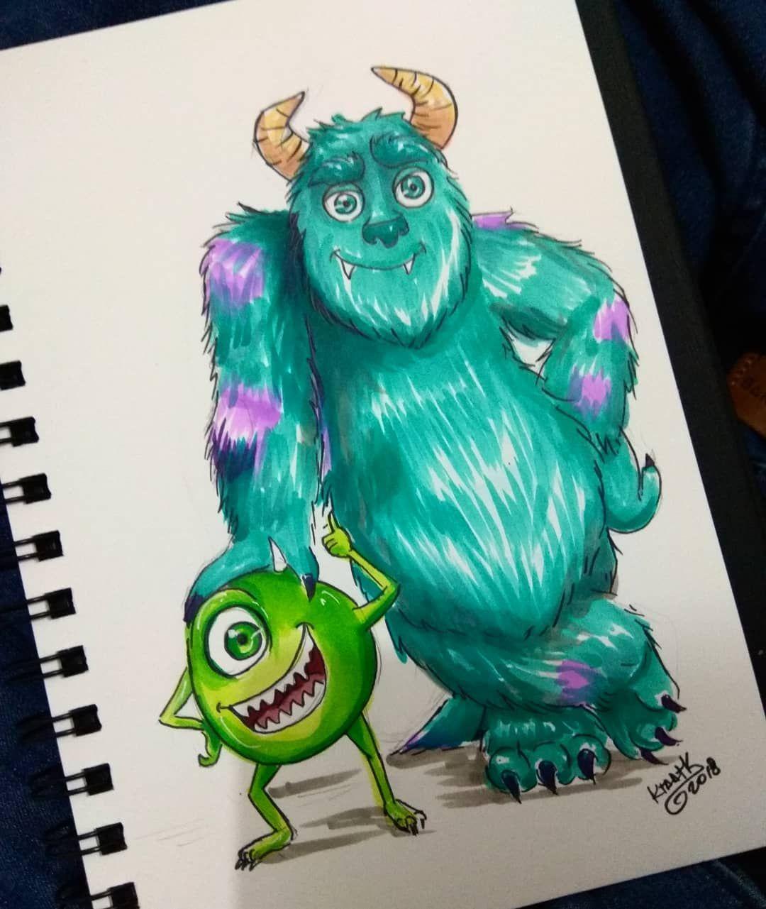 Day 18 Monster Inc Sully Sullivan Monster Monsterinc Disney Pixar Drawingchallenge Mike Mikewazowski Doodletimewithkaroli Dibujos Ilustraciones Arte