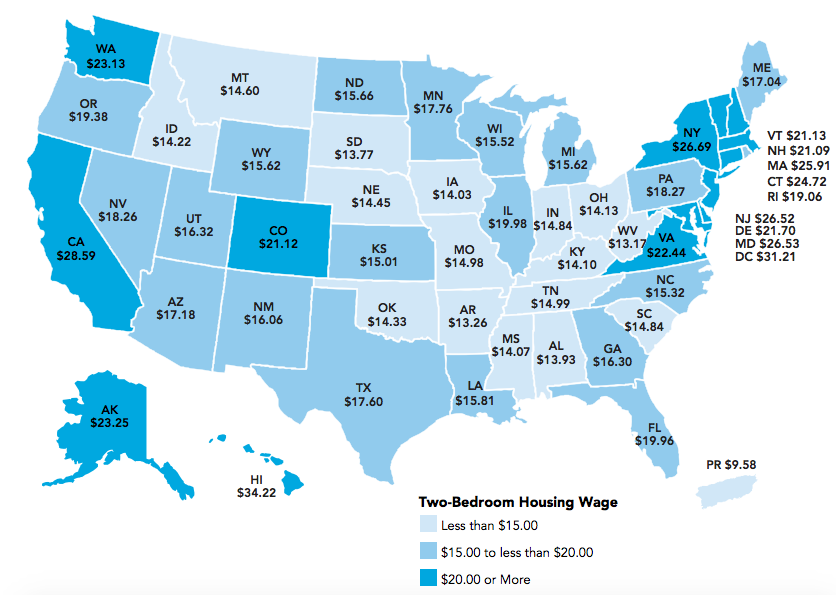 This Map Shows The Hourly Wage You Need To Afford An Apartment In Your State Rent Apartment Cost Low Income Housing