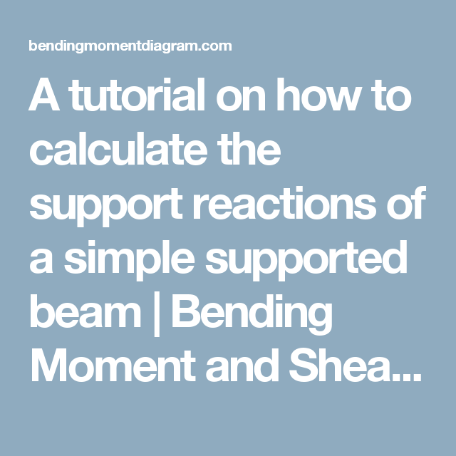A Tutorial On How To Calculate The Support Reactions Of A Simple