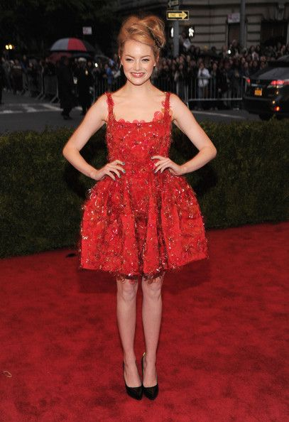 Emma Stone looks adorable in Lanvin at the Met Ball 2012 #redcarpet #MetBall ~