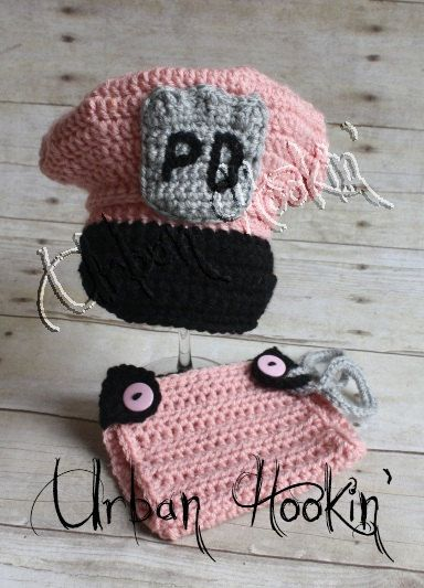 Crochet Pattern Newborn Police Hat Diaper Cover By Thesteadyhand
