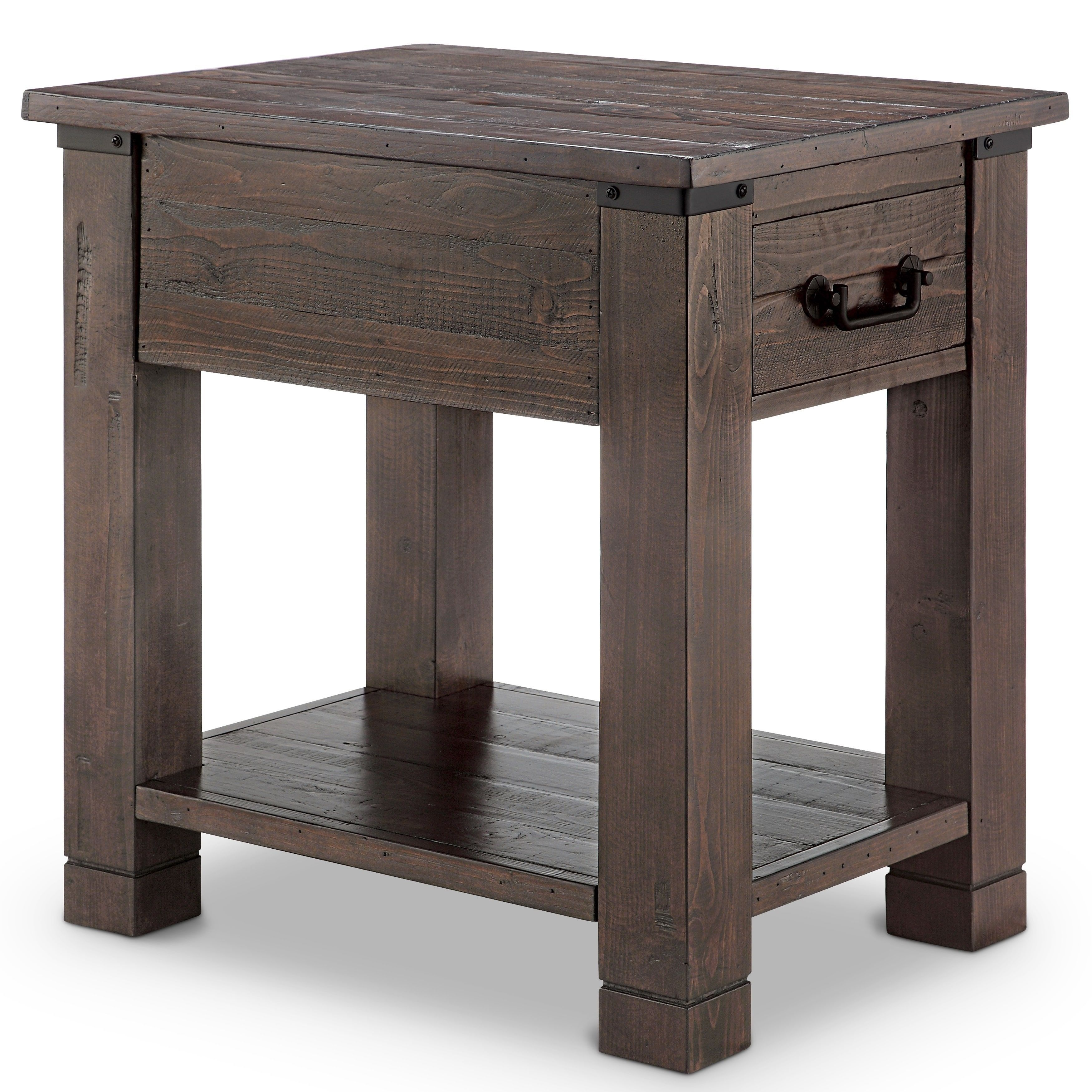 Magnussen Home Furnishings Pine Hill Wood Metal Rustic Rectangular End Table Brown