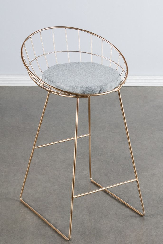 """You can pre-order this popular chair now, it will be shipped in mid November 2016. Materials: Metal, linen (pad) Measurements : 33""""h x19.5""""w x21""""d pounds, 10 pounds Seat height: 26"""" Colors: gold, gray"""
