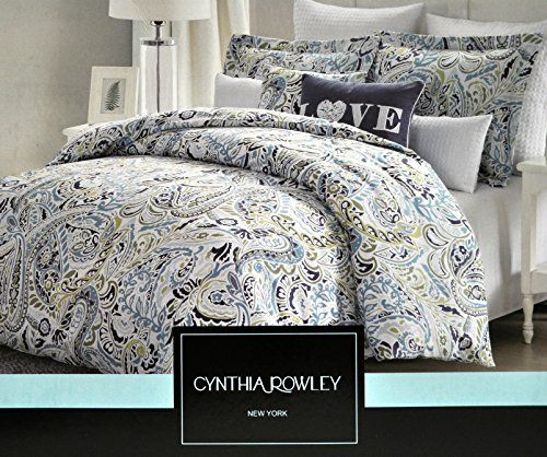 Cynthia Rowley Navy Blue Aqua Paisley Green King Duvet Cover Set