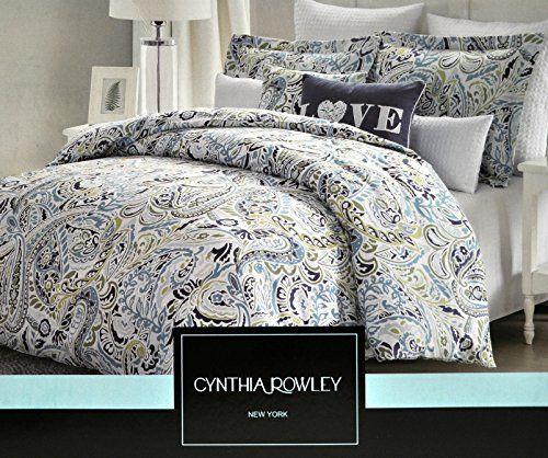 Cynthia Rowley Navy Blue Aqua Paisley Green King Duvet Cover Set