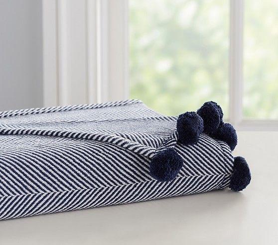e97d0366f Organic Herringbone Pom-Pom Baby Blanket | kids' wish list. | Pom ...