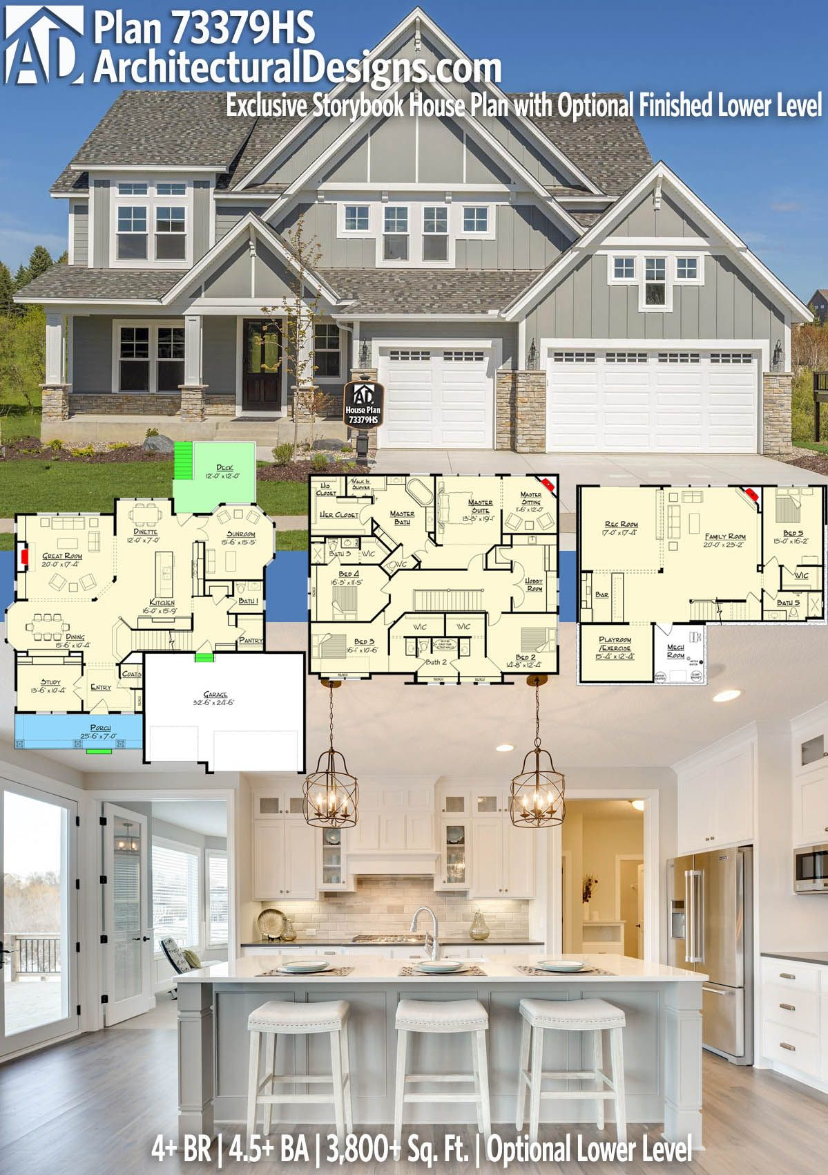 Plan 73379hs Exclusive Storybook House Plan With Optional Finished