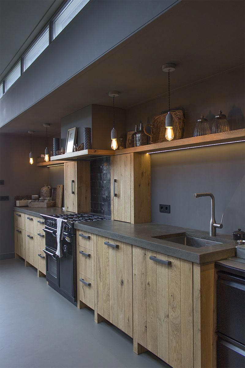 Kitchen Diningroom Industrial Look Wood Lighting Windows Interior Design Keuken Eetkamer Industrie Cuisine Moderne Idee Amenagement Cuisine Amenagement Cuisine