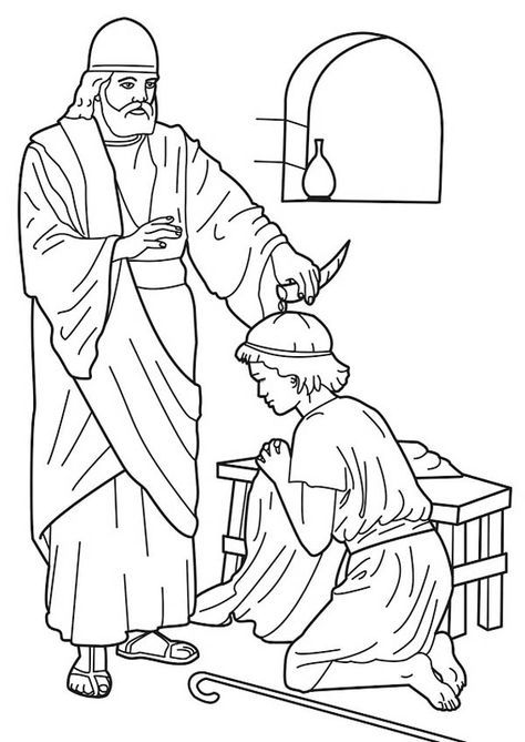 Samuel Anoints Saul Coloring Page Bible Crafts David Bible
