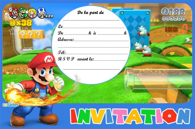 Top Invitation anniversaire Super Mario - 123 cartes | Mario bros  RQ88