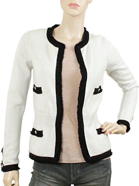 Chanel Knits - Beige Cashmere Knit Cardigan with Black Trim. Our Price:  $524.95