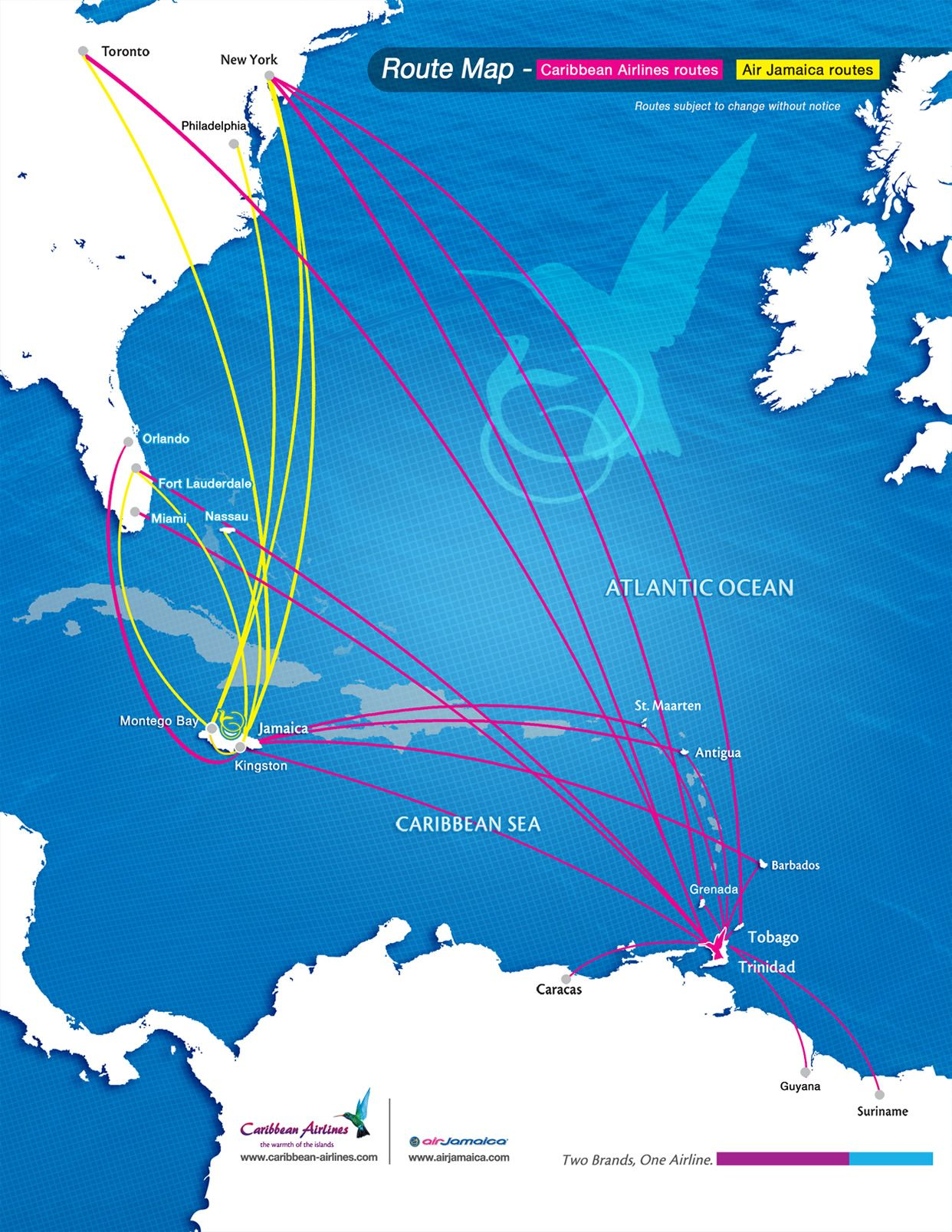 Caribbean Airlines & Air Jamaica route map | Airlines | Air jamaica ...