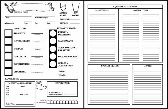 basic dungeons and dragons character sheet d&d character sheet e - google search | dungeons and