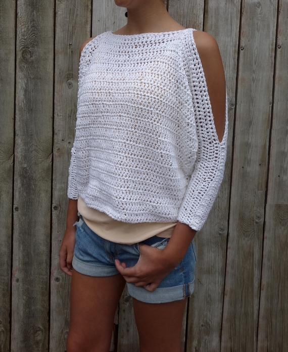 Pull Crochet PATTERN – Lily of the Valley CropTop / Modern Rustic Coverup / Open Shoulder Jumper   – Pulli stricken