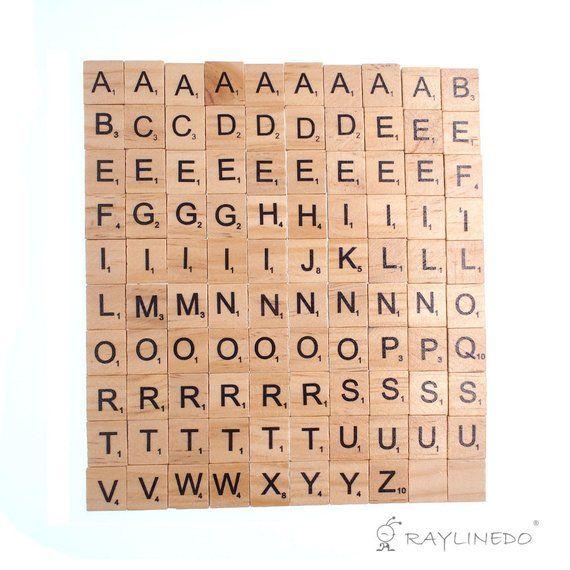 100x Wooden Scrabble Tiles Letter Alphabet Scrabbles Number Etsy Scrabble Tiles Scrabble Letters Letter A Crafts