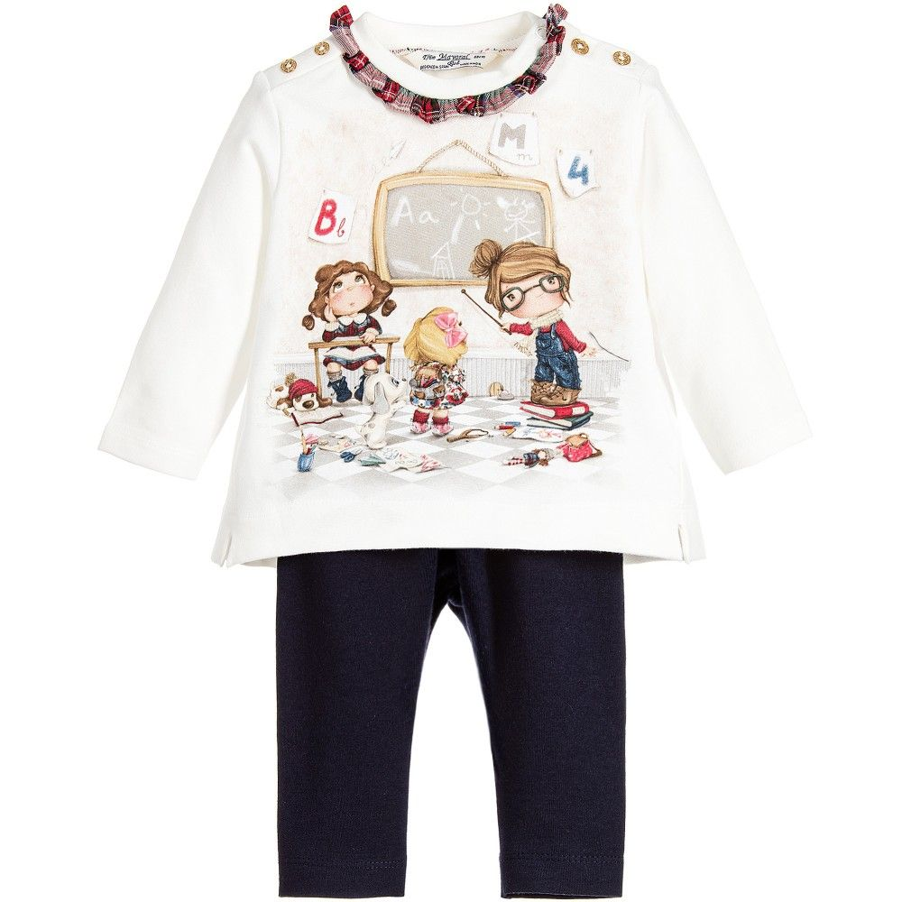 aa744b384 Mayoral Baby Girls Ivory Top & Blue Leggings Set at Childrensalon.com