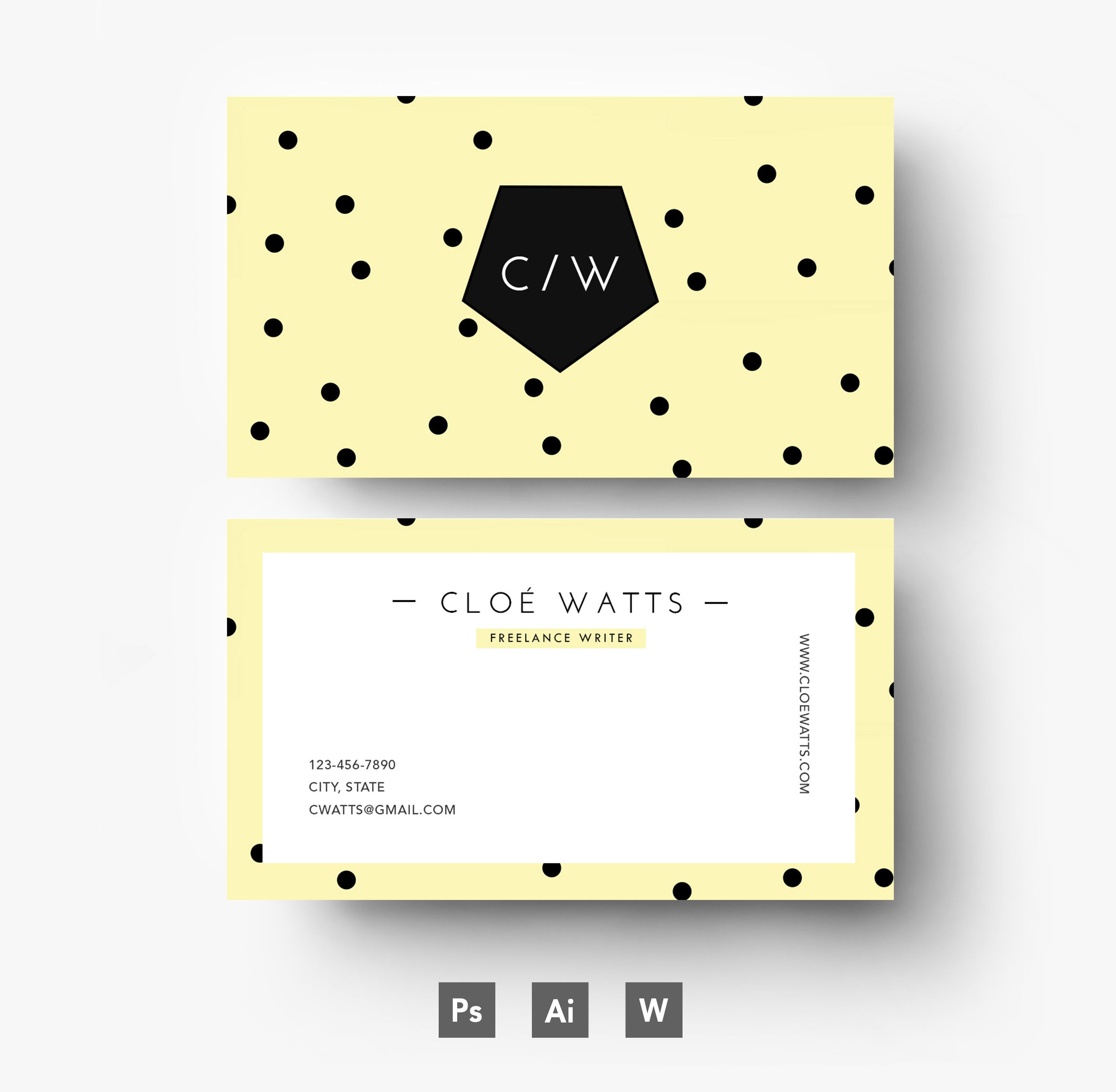 Colorful, editable business card template with polka dots | design ...