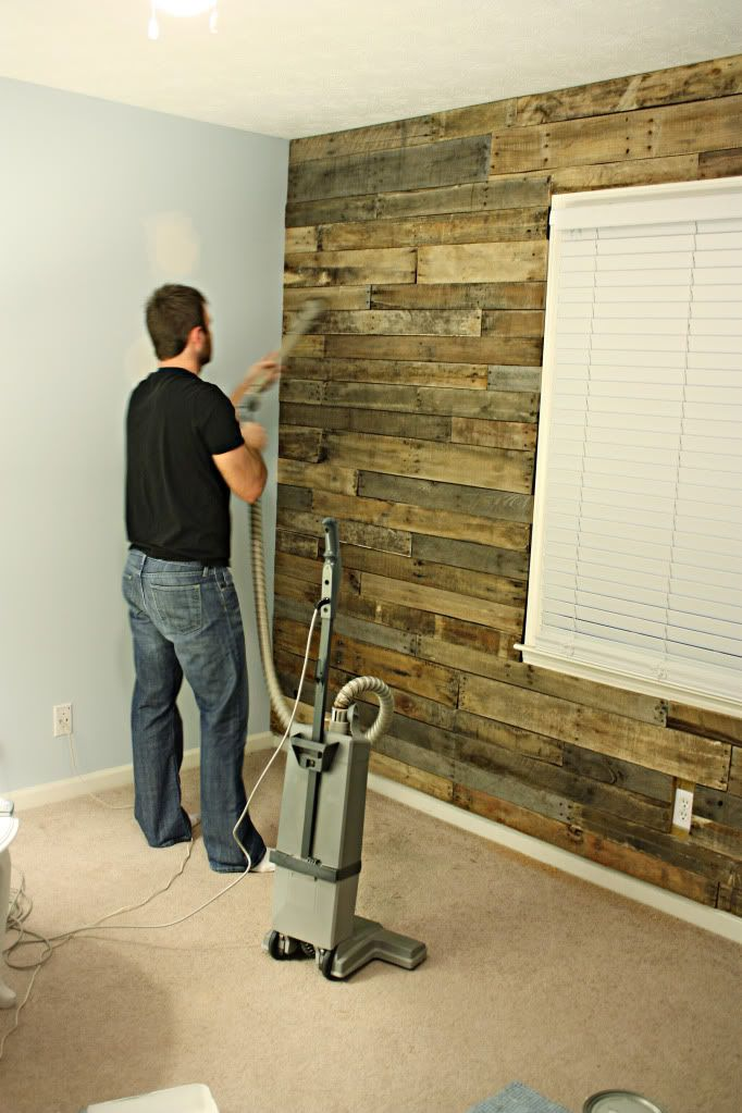 How To Diy A Pallet Accent Wall Bower Power Pallet Accent Wall Pallet Wall Wood Pallets
