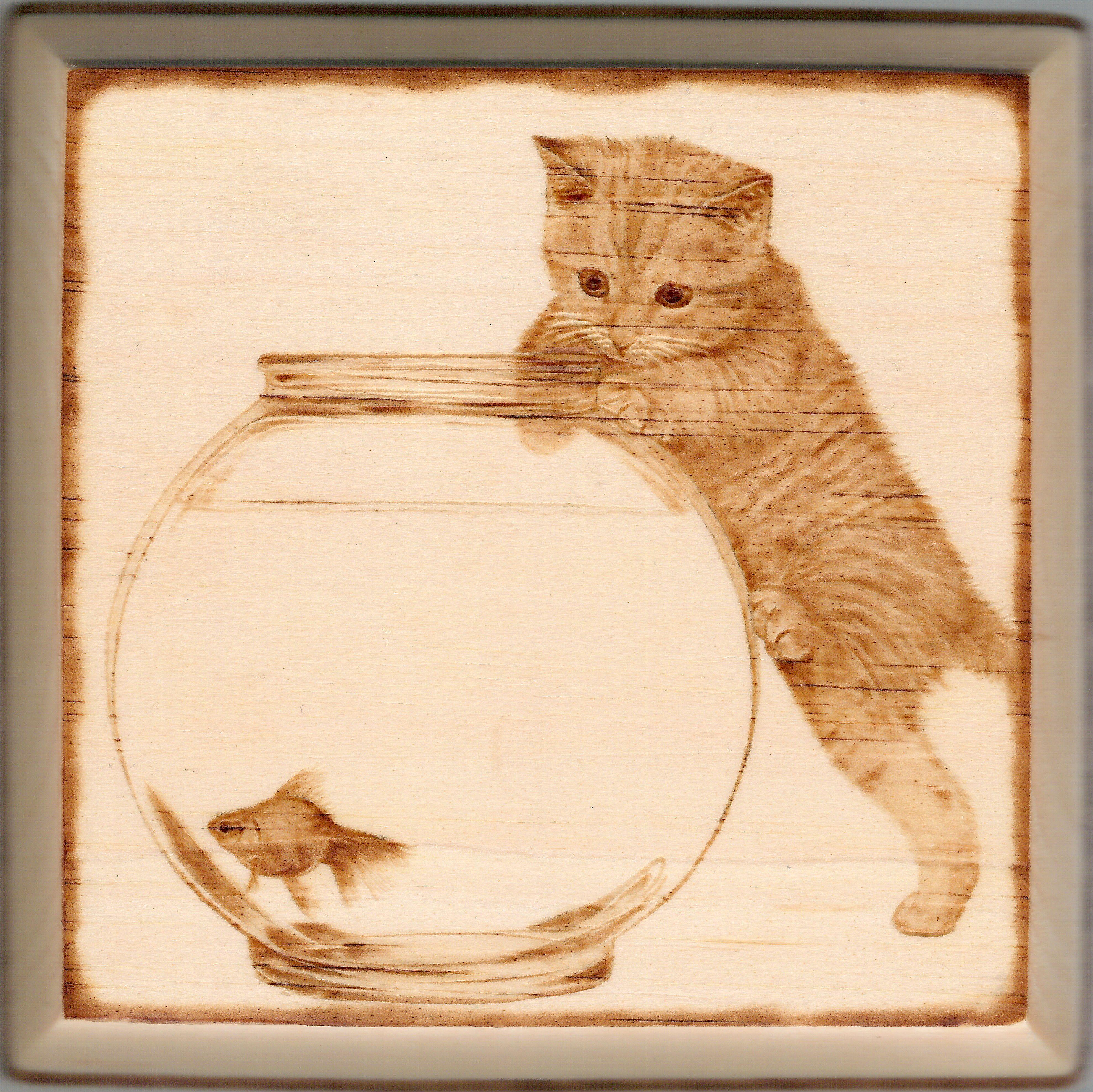 Выжигание по дереву картинки кошки