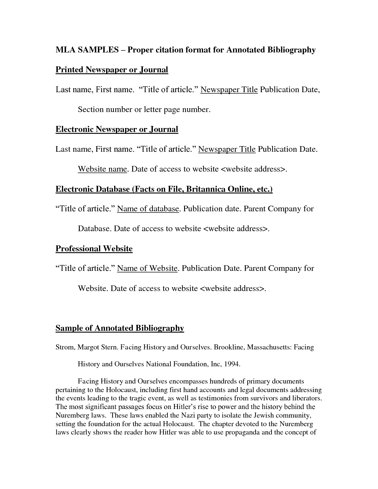 Annotated Bibliography On A Website Example Mla Google Search Lettering Essay Template Citation Format