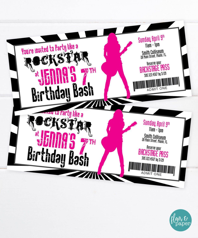 Rockstar Invitation, Birthday Party Invitation, VIP Pass, Rockstar ...
