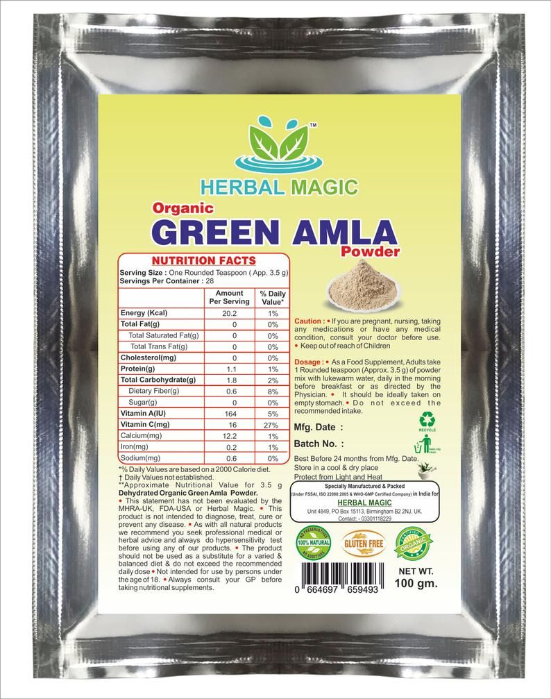 100g Certified Organic Green Amla PowderGooseberry hair loss | Etsy
