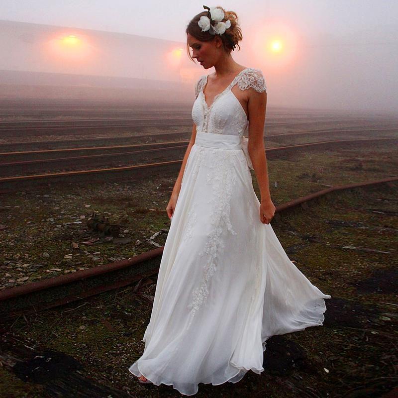 Love the Sexy Ivory Chiffon Boho Wedding Dresses Ribbon Beaded Lace Beach Wedding Dress V Neck Backless Pretty Summer Wedding Gowns Online Shop For U !