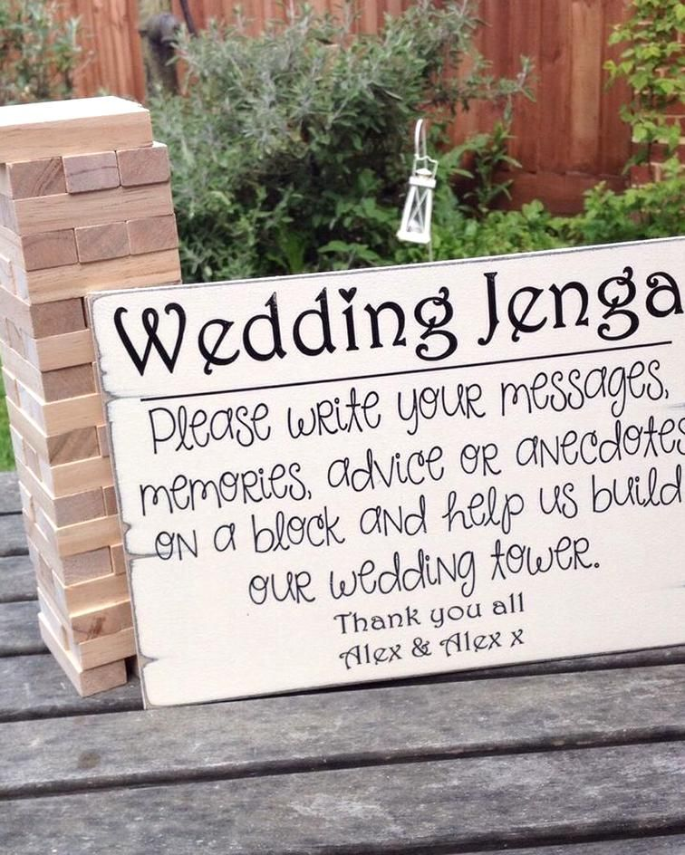 Alternative guest book wedding sign wedding jenga sign