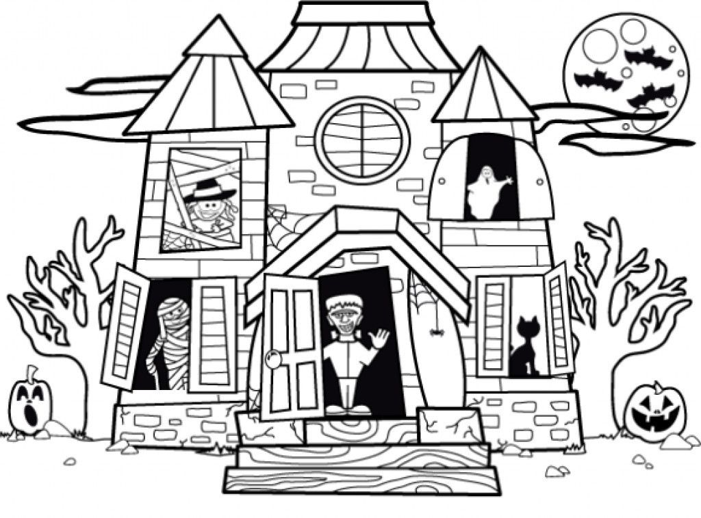Image result for haunted house kids House colouring