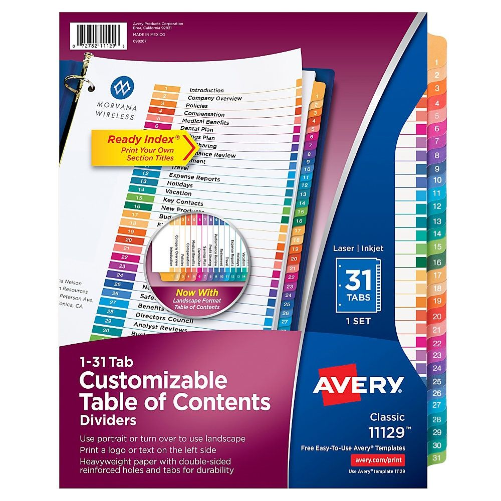 Avery Ready Index 20 Recycled Table Of Contents Dividers