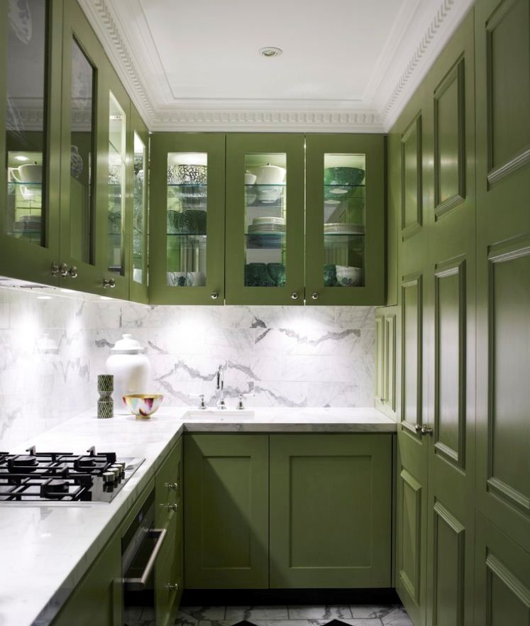 Tiny galley kitchen green painted cabinets and marble