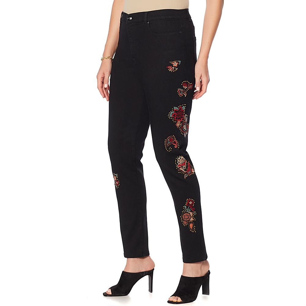53eec552 DG2 by Diane Gilman Virtual Stretch Studded Embroidered Jean - Basic - Black