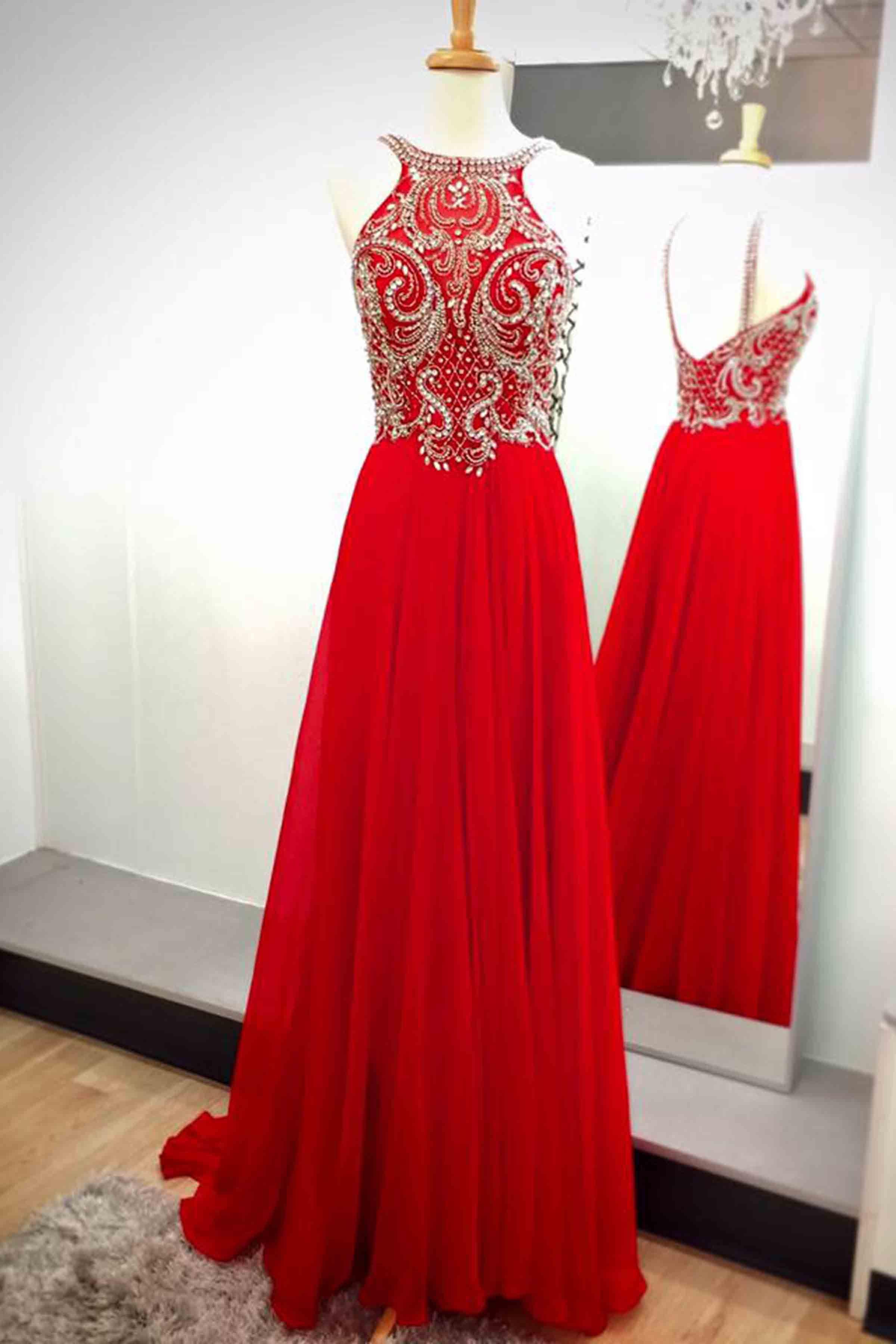 Beaded red chiffon prom dress cute halter prom dress prom