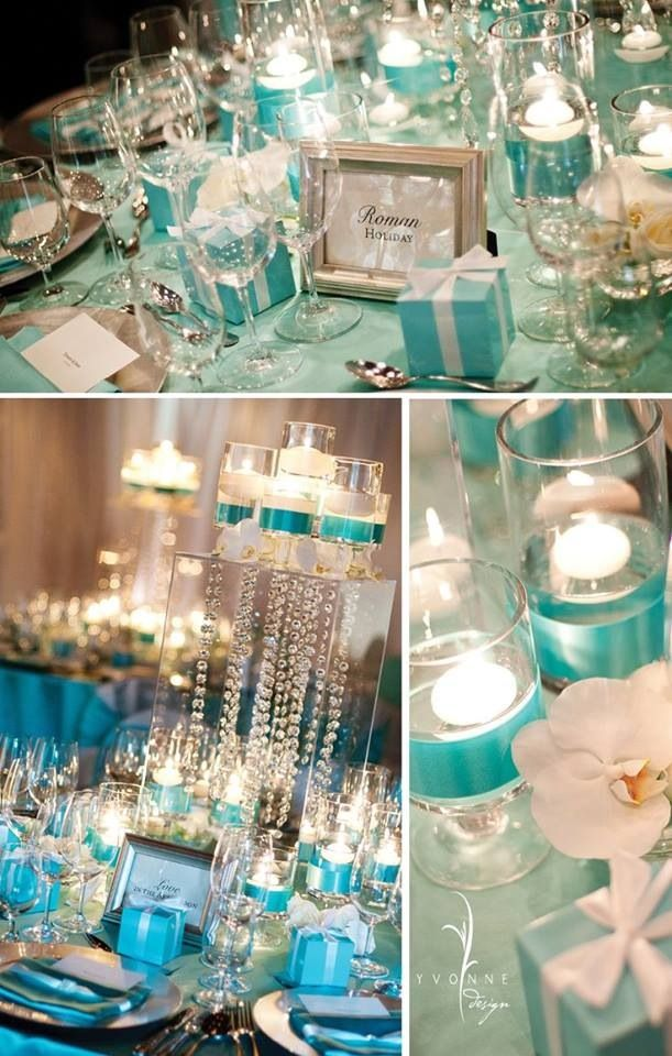 tiffany blue party wedding decor table setting ideas \u0026 inspiration curated and collected by Design Shop - My Audrey Dream party & Wedding centerpieces. Tiffany blue:) | Leah\u0027s Wedding | Pinterest ...