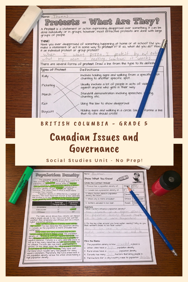 hight resolution of Canadian Issues and Governance: BC Grade 5 Reading Passages/Activity Sheets    Reading passages
