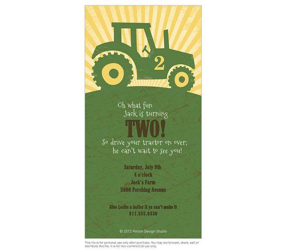 Big Green Tractor Birthday Party Invitation Printable Tractor