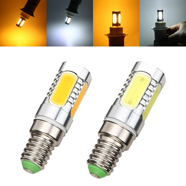 E14 7W LED COB Bulb 350lm Pure White Warm White Corn Light Lamp AC