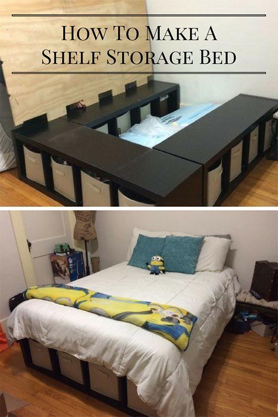 Creative under bed storage idea diy shelf bed storage for Comforter storage ideas