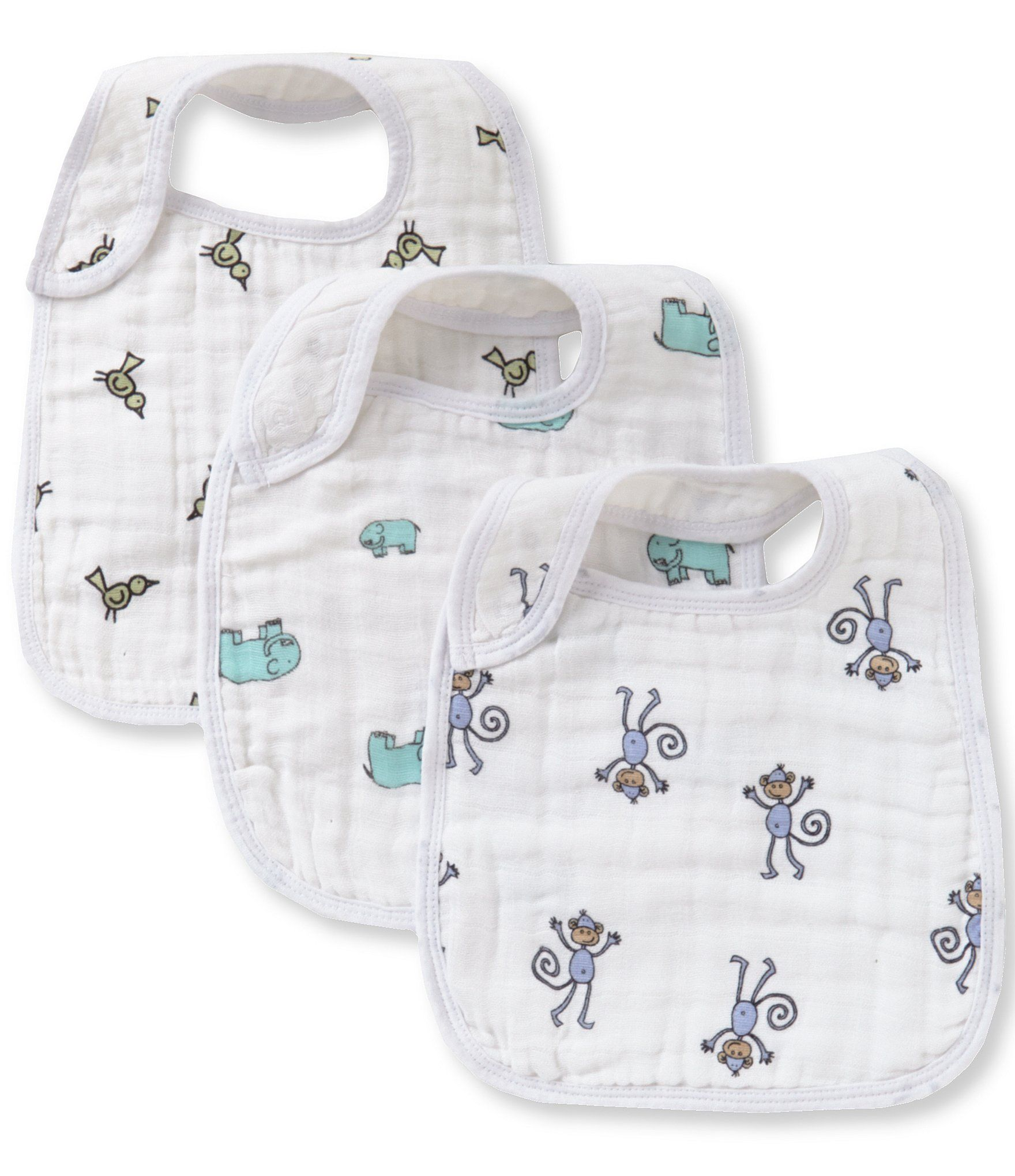 From Aden + Anais, these snap bibs feature:   themed prints front snap for easy fastening 3 snaps to grow with baby extra absorbent and soaks up spills cottonmachine wash Imported.