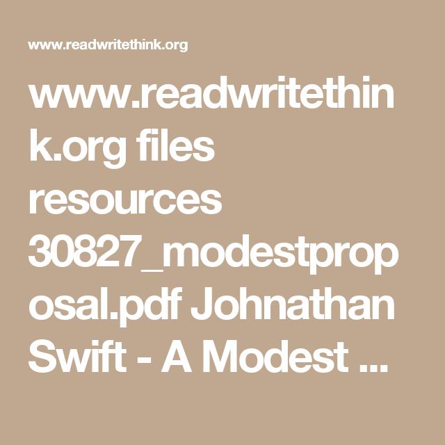Readwritethink Files Resources 30827modestproposalpdf