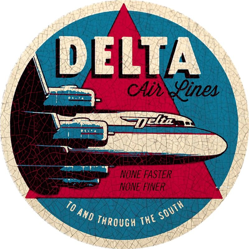 Vintage Delta Airlines USA • Also buy this artwork on