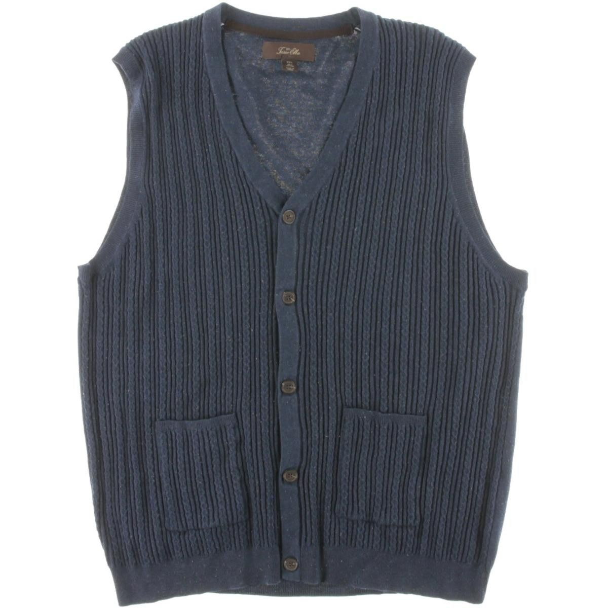 Tasso Elba Mens Cable Knit Button-Down Sweater Vest | Sweater ...
