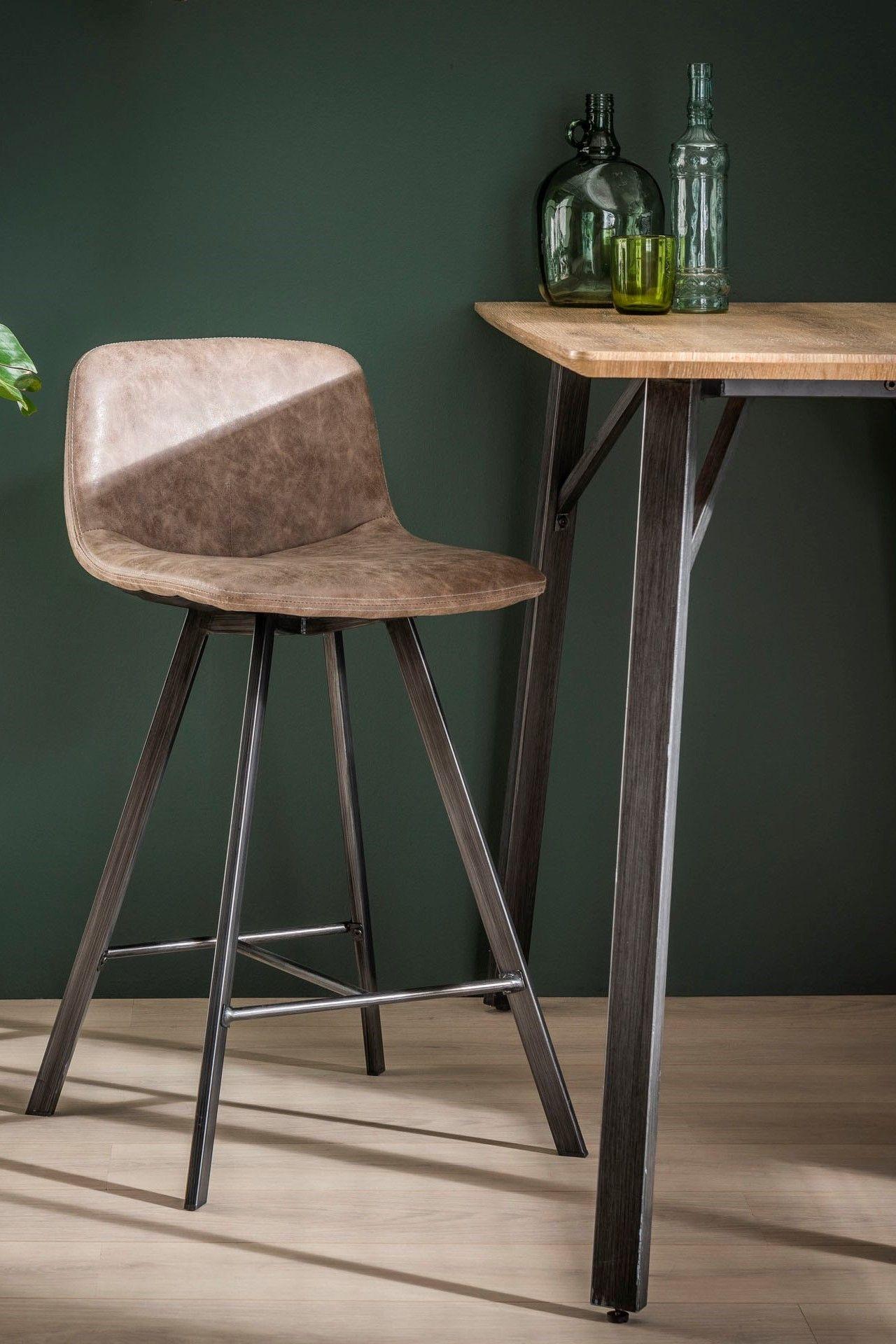 Chaise De Bar En Tissu Marron Style Contemporain Lot De 2 En 2020 Chaise Haute Cuisine Chaise Bar Decoration Salle A Manger