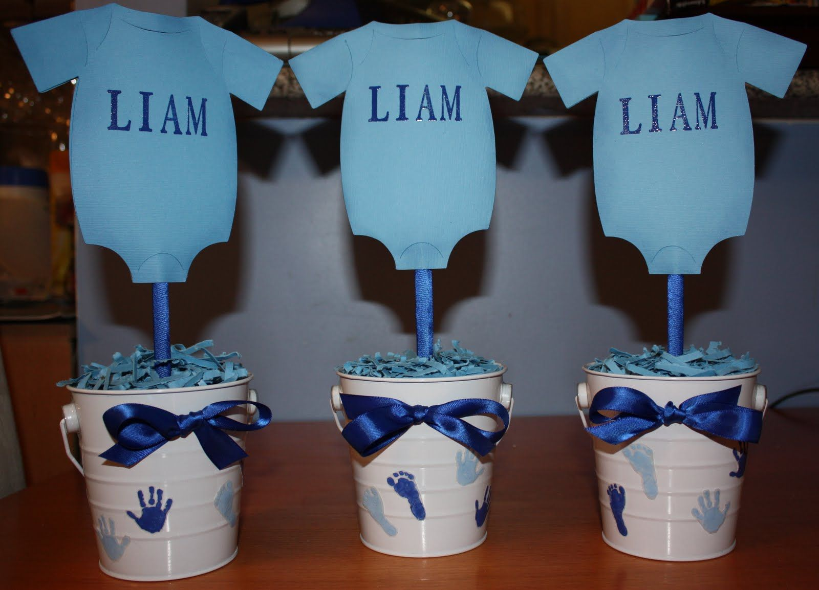 boy baby shower centerpieces for the tables | Don\'t Sweat The ...