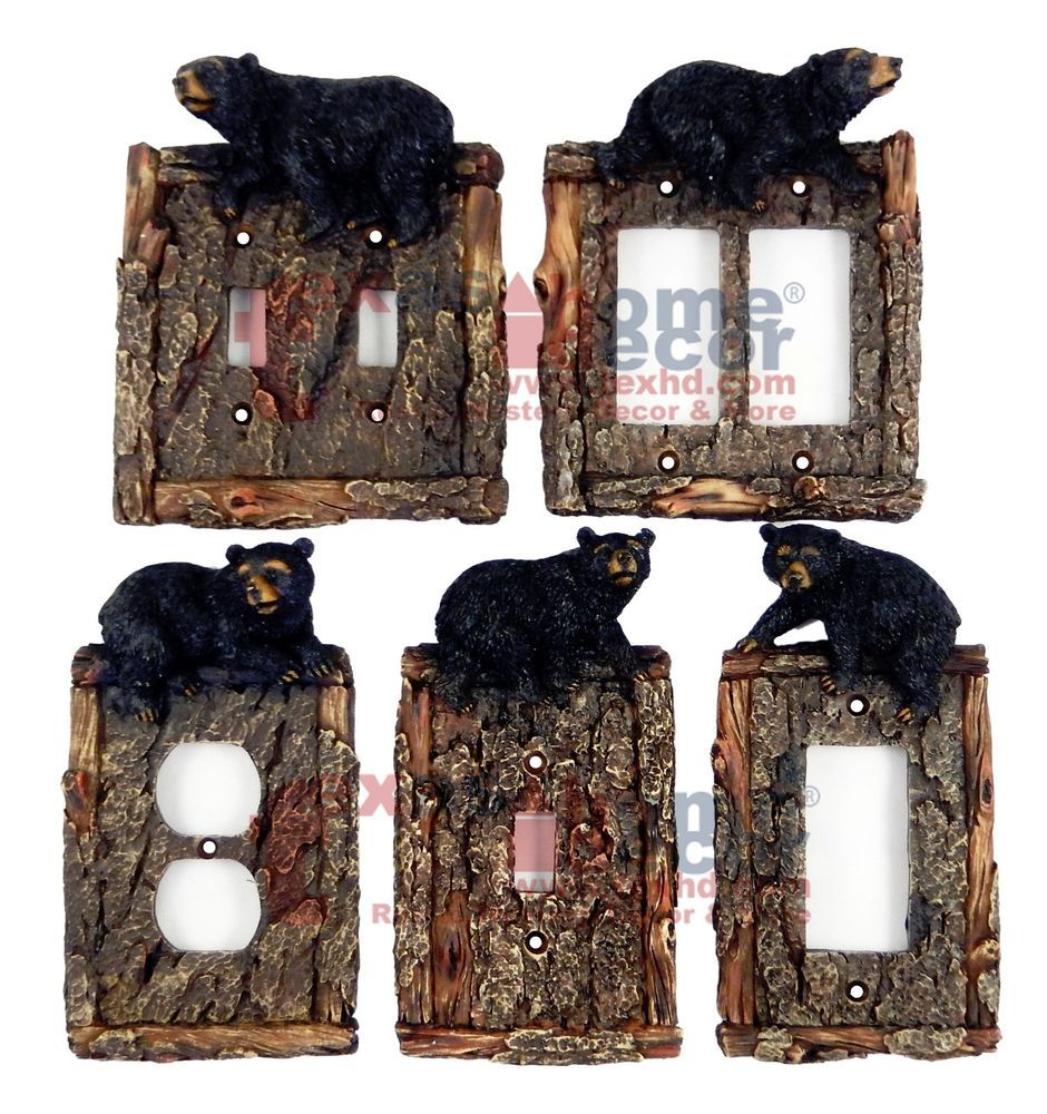 Rustic Light Switch Covers Black Bear Switch Plate Covers Faux Wood Look Cabin Decor Lodge