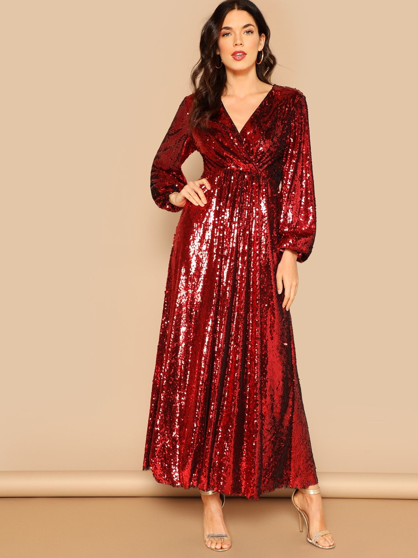 aa26e0139bbb Party A Line Wrap Plain Fit and Flare Deep V Neck Long Sleeve High Waist  Red Maxi Length Wrap Front Lantern Sleeve Sequin Dress