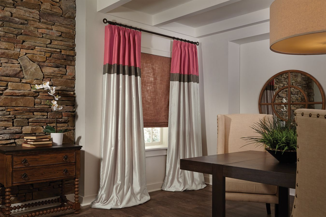 Flat Roman Shade With Color Block Drapery Panels