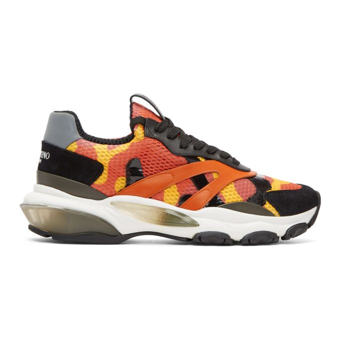 Valentino Orange Valentino Garavani Camo Bounce Runner Sneakers UUQued