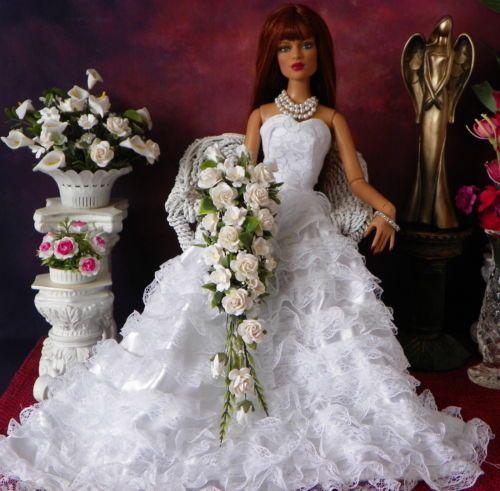 Tonner,Tyler Sydney Ellowyne White Casscading Bouquet, Flowers, NEW!!